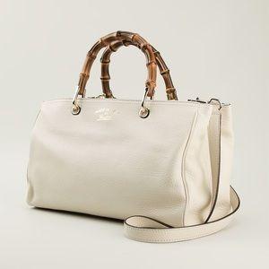 GUCCI Bamboo Shopper Tote Bag With Bamboo Handles